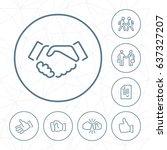 Vector Handshake Outline Icon...