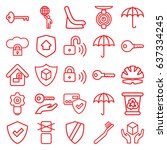 protect icons set. set of 25... | Shutterstock .eps vector #637334245