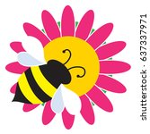a bumble bee is settled on a...   Shutterstock .eps vector #637337971