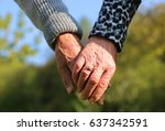 senior couple in love walking... | Shutterstock . vector #637342591