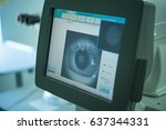 the ophthalmologist conducts... | Shutterstock . vector #637344331