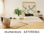 eco bedroom with rope wall  bed ... | Shutterstock . vector #637350361