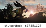 Stock photo white rabbit silhouette with queen of hearts palace in background 637351129