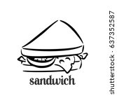 sandwich in black and white | Shutterstock .eps vector #637352587