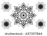beautiful vector black mandala... | Shutterstock .eps vector #637357864