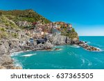 town of manarola typical... | Shutterstock . vector #637365505