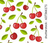 cherries in a seamless  pattern ... | Shutterstock .eps vector #637366171