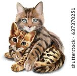 Cat Hugs Kitten Watercolor...