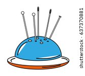 sewing pincushion isolated icon   Shutterstock .eps vector #637370881
