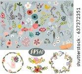 vintage doodle floral set | Shutterstock .eps vector #637372351