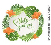 summer sale. tropical palm... | Shutterstock .eps vector #637372534