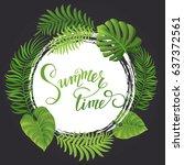summer sale. tropical palm... | Shutterstock .eps vector #637372561