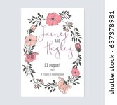 frame of flowers with text...   Shutterstock .eps vector #637378981