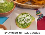 guacamole tostada over a piece...   Shutterstock . vector #637380031