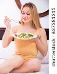 cheerful girl in lingerie... | Shutterstock . vector #637381315