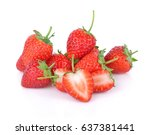 strawberry isolated on white... | Shutterstock . vector #637381441