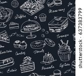 vector hand drawn desserts... | Shutterstock .eps vector #637383799