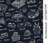vector hand drawn desserts...   Shutterstock .eps vector #637383799