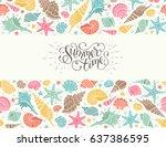 summer time horizontal banner.... | Shutterstock .eps vector #637386595