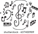 hand drawn music symbol vector | Shutterstock .eps vector #637400989