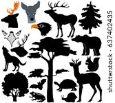 silhouettes of forest animals... | Shutterstock .eps vector #637402435