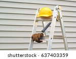 stepladder  hardhat  gloves and ... | Shutterstock . vector #637403359