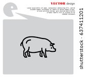 web line icon. pig  livestock | Shutterstock .eps vector #637411201