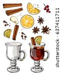 mulled wine. christmas drink.... | Shutterstock .eps vector #637411711