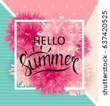 hello summer natural background ... | Shutterstock . vector #637420525
