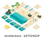 isometric cartoon vector people ... | Shutterstock .eps vector #637424629