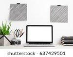 laptop  office supplies  camera ... | Shutterstock . vector #637429501