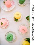 above view of a table of small... | Shutterstock . vector #637431439