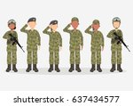 group of army  men and woman ... | Shutterstock .eps vector #637434577