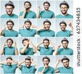 set of handsome emotional man... | Shutterstock . vector #637434835
