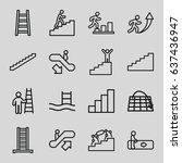 staircase icons set. set of 16... | Shutterstock .eps vector #637436947