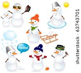 7 cartoon snowman   isolated on ... | Shutterstock .eps vector #63743701