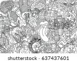 music collage on a large brick... | Shutterstock . vector #637437601