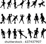 silhouette boy active raster... | Shutterstock . vector #637437907