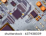 electronic circuit board close... | Shutterstock . vector #637438339
