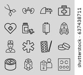 doctor icons set. set of 16... | Shutterstock .eps vector #637438711