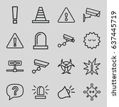 attention icons set. set of 16... | Shutterstock .eps vector #637445719