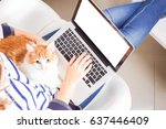someones sitting on chair and... | Shutterstock . vector #637446409
