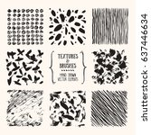 hand drawn textures   brushes.... | Shutterstock .eps vector #637446634