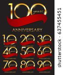 template set of anniversary ... | Shutterstock . vector #637455451