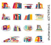 colored books icons set in flat ... | Shutterstock .eps vector #637459141