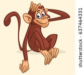 cute cartoon monkey sitting.... | Shutterstock .eps vector #637464331
