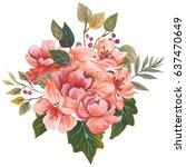 hand painted watercolor bouquet ... | Shutterstock . vector #637470649