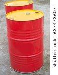 two metal red barrels close up | Shutterstock . vector #637473607