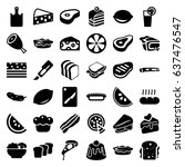 slice icons set. set of 36... | Shutterstock .eps vector #637476547