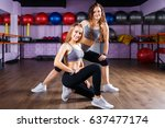 two smiling fitness girls... | Shutterstock . vector #637477174